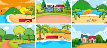 Set of flat nature background. Illustration vector illustration