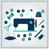 Set of flat needlework icons Stock Image