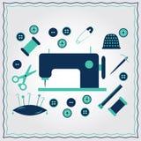 Set of flat needlework icons Stock Image