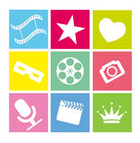 Set of flat neon colored cinema icons Stock Images
