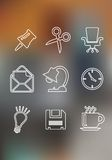 Set of flat office icons Stock Photo