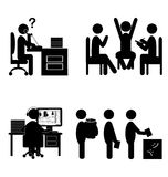 Set of flat office internal communications icons isolated on white stock illustration