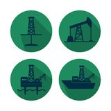 Set of flat vector oil and gas industry icons royalty free illustration