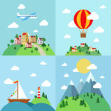 Set of flat outdoor vacation landscapes. Template. Travel by air plane, balloon, sail boat yacht, mountain hiking. Creative vector landscape collection Stock Photos