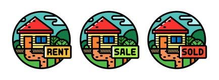 Real estate. Badges set. Set of flat outline badges, icons for real estate projects stock illustration