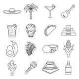 Set of flat outline icons on Mexica theme Royalty Free Stock Photos