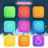Set of flat outlined Christmas icons on white background. Vector illustration Stock Images