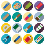Set of flat painting icons. Royalty Free Stock Photography