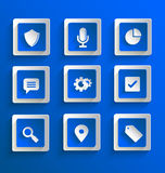 Set of flat paper icons Stock Photo