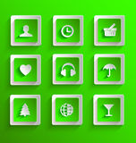 Set of flat paper icons Royalty Free Stock Images