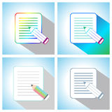 Set of Flat Pencil with Paper Page Icons.  Stock Photos