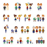 Set of flat people. Set of people in different situations. Flat Royalty Free Stock Image