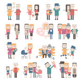 Set of flat people. Set of people in different situations. Flat Royalty Free Stock Images