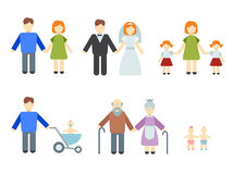 Set of flat people. Illustrated infographics on the theme of family and kids, different icons in a flat style Royalty Free Stock Image