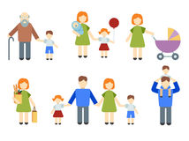 Set of flat people. Illustrated infographics on the theme of family and kids, different icons in a flat style Royalty Free Stock Images