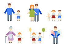Set of flat people Stock Photo