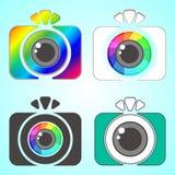 Set of Flat Photo Camera Sign Icons.  Stock Images