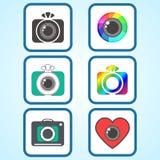 Set of Flat Photo Camera Sign Icons.  Stock Photo