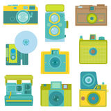 Set of Flat Photo Cameras. In vector Stock Photography