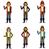 Set of flat pirate icons Royalty Free Stock Images