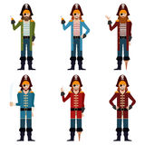 Set of flat pirate icons Stock Images