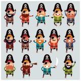 Set of flat pirate icons Stock Image
