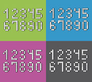 Set of flat pixel numbers on four different color backgrounds.  vector illustration