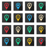 Set of flat place icons Stock Photography