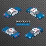 Set with flat  police car icons with siren Royalty Free Stock Image