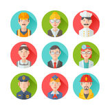Set of flat portraits icons with people of different professions. Worker, teacher, cook, maid, businessman, doctor, policeman, stewardess, fireman Stock Photos