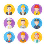 Set of flat portraits icons with people of different professions. Worker, teacher, cook, maid, businessman, doctor, policeman, stewardess, fireman Royalty Free Stock Photography