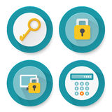 Set of flat protection icons Stock Image