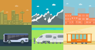 Set of flat public transport. On the background of mountains and town houses. Posters for the sale of tickets for the tram, train and bus. Vector illustration Stock Photos