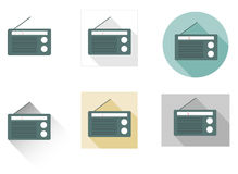 Set of 6 flat radio icons Royalty Free Stock Photos