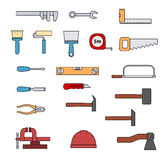 Set of flat repair hand-driven tools. Set of flat repair tool icons. Home repair signs. Worker tools. Vector illustration Royalty Free Stock Photos