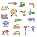 Set of flat repair tool icons. Stock Images