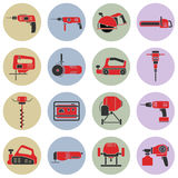 Set of flat repair tool icons. Royalty Free Stock Images