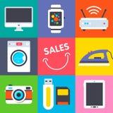 Set of flat retail icons Stock Image