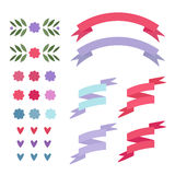 Set flat ribbons Royalty Free Stock Photo