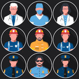 Set of flat round avatars of medical, fire and police services. Portraits of firemen, medical staff and police officers for user profile picture. Men and women Royalty Free Stock Images
