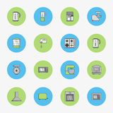 Set of flat round icons for kitchen equipment such as kettle, oven, microwave, blender, mixer, steamer, coffee machine, scales, me Royalty Free Stock Photos
