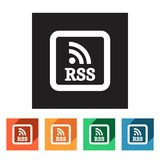 Set of flat rss icons,  illustration Royalty Free Stock Images
