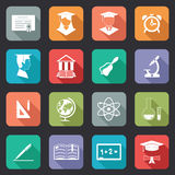 Set of flat school and education icons Royalty Free Stock Photography