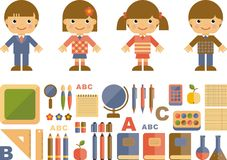 Set of flat school icons Stock Photo