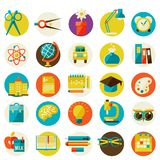 Set of flat school icons. Royalty Free Stock Photo
