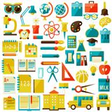 Set of flat school icons. Isolated on white. vector illustration Royalty Free Stock Images