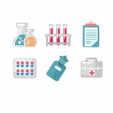 Set of flat science icons. Vector icons on medicine science in flat style Royalty Free Stock Photography
