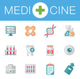 Set of flat science icons. Vector icons on medicine science in flat style Stock Image