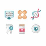 Set of flat science icons Stock Image