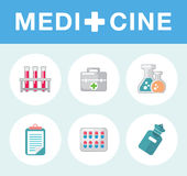 Set of flat science icons. Vector icons on medicine science in flat style Stock Photography